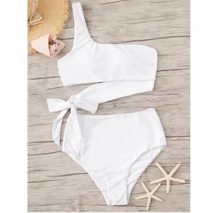 White Two-Piece High Waisted Bathing Suit w/ Tie